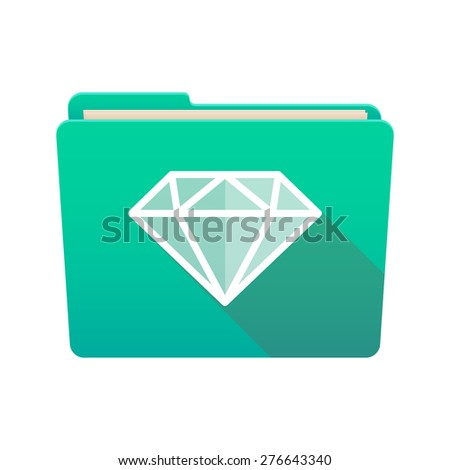 Isolated file folder icon with a diamond - stock vector