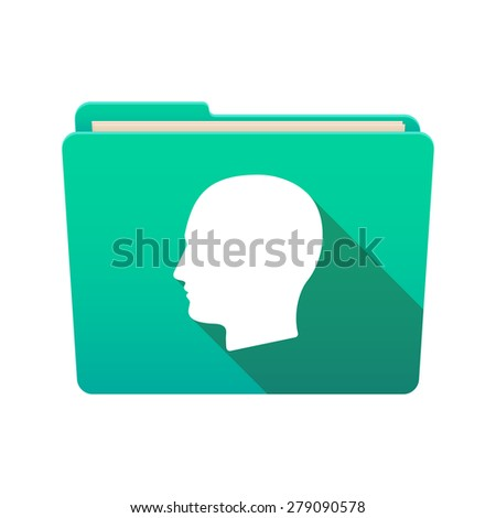 Isolated file folder icon with a male head