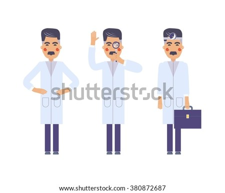 Isolated flat doctor character design with Medical Icons Set. medicine background with eyesight testing doctor. Design elements - vector illustration