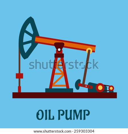 Isolated flat oil pump icon for petroleum refining industrial design - stock vector