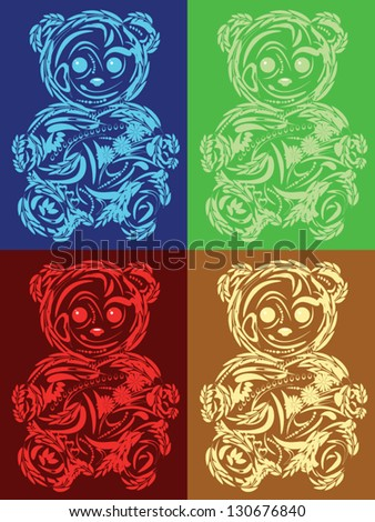 Isolated Floral bear toy in different colors - stock vector