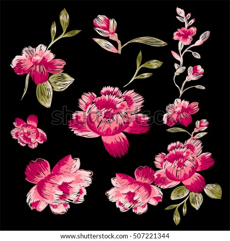Isolated floral elements on a black background. Immitation embroidery.