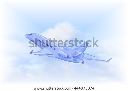 isolated Flying plane on a background of blue sky with white clouds. Vector illustration.