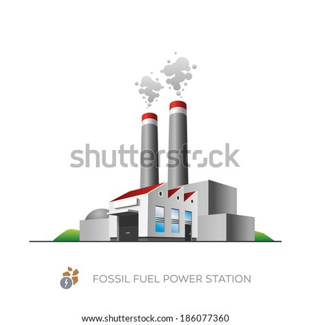Isolated fossil fuel power station icon on white background in cartoon style  - stock vector