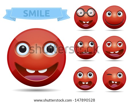 Isolated, Funny Red circle glossy emoticon smiley - vector. - stock vector