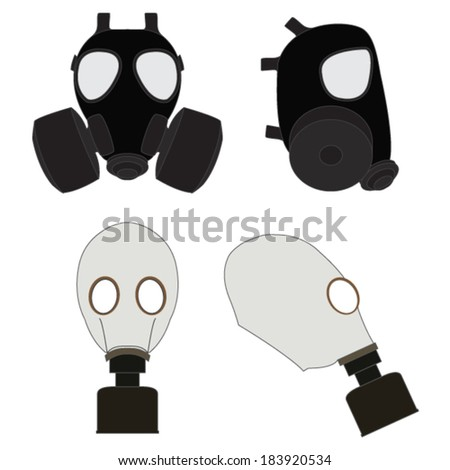 Isolated Gas Masks - stock vector
