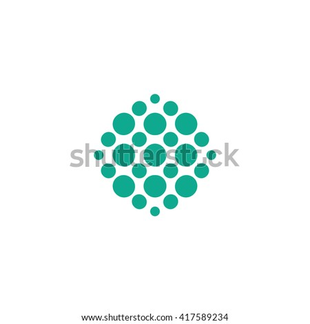 Isolated, geek circles composition. Round, rhombic vector shape. Minimalistic, flat, round stylized logotype. Turquoise color logo template. Circle, drop, virus, bubbles, blot, bacteria element logo.  - stock vector