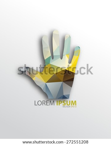 isolated geometric triangular open hand background eps10 vector - stock vector