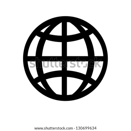 Isolated globe, earth icon on white background. - stock vector