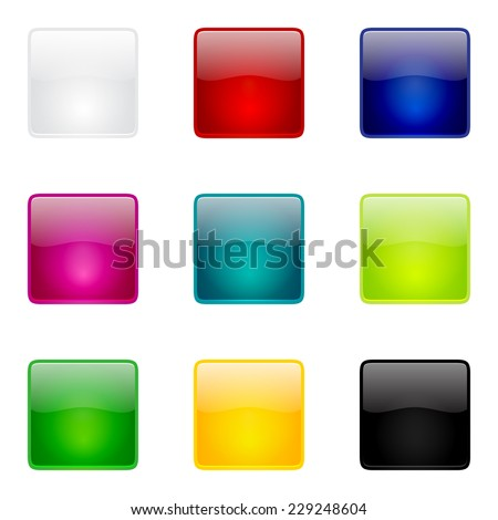 Isolated glossy square buttons collection for web and mobile apps - stock vector