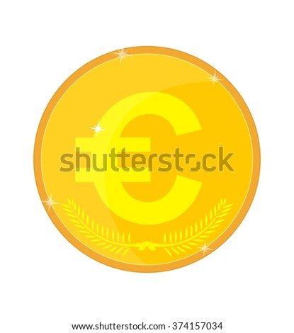 Isolated gold coin with the euro symbol, vector illustration - stock vector