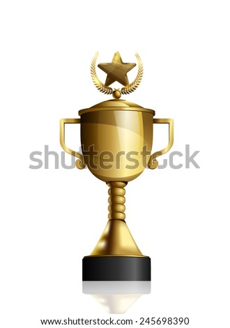 Isolated golden cup with star and laurel wreath