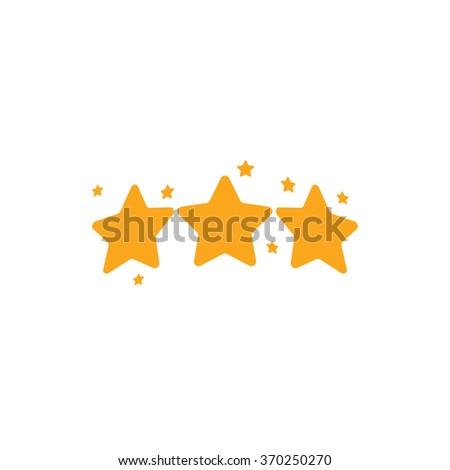 Isolated golden vector stars logo. Rating sign. Quality standard icon. Reward symbol. Three five-pointed stars. Space element. Champion emblem. - stock vector