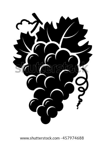 isolated grapes branch icon with leaf on white background
