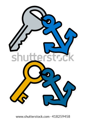 Isolated gray and gold metal standard keys attached to blue anchor badge symbols over white background - stock vector