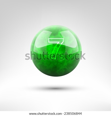 Isolated green bowling ball vector illustration 7 lbs - stock vector