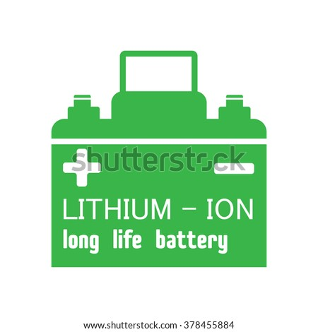 Isolated green car battery with the text lithium ion long life battery written with white letters