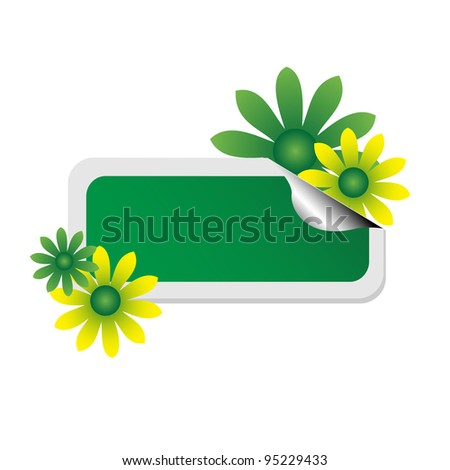 Isolated green empty sticker with green and yellow flowers