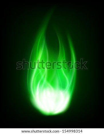 Isolated green flame. vector. - stock vector