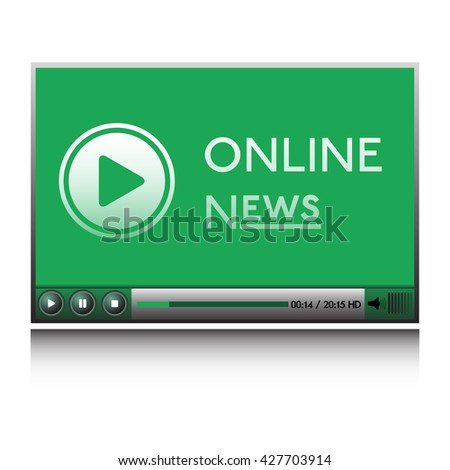 Isolated green player with play sign and the text online news written on its screen - stock vector