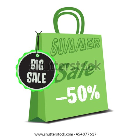 Isolated green summer sale bag with the text summer sale minus fifty percent written on the bag