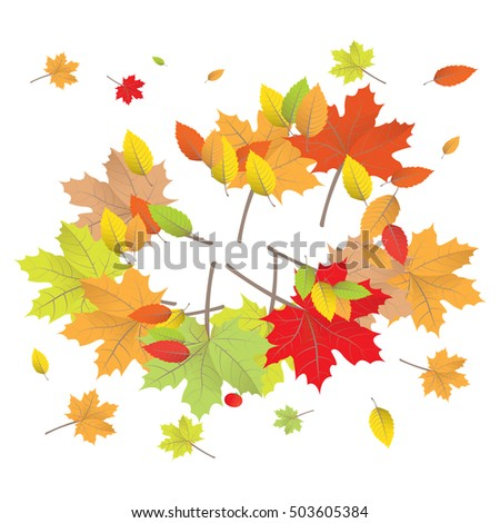 Isolated group of colored leaves, Thanksgiving day vector illustration