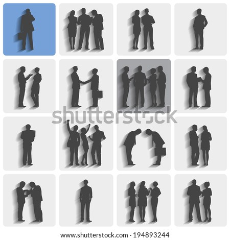 Isolated groups of business people standing and working. - stock vector