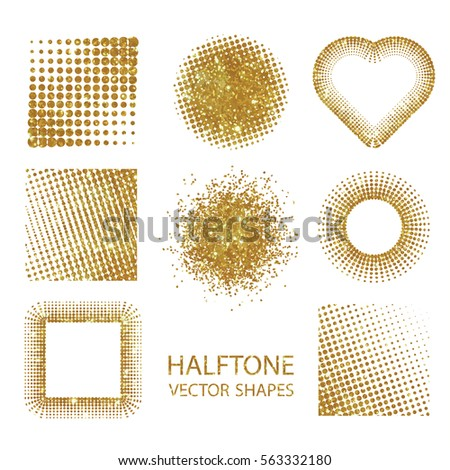 Isolated halftone shapes made of gold glitter. Vector illustration.