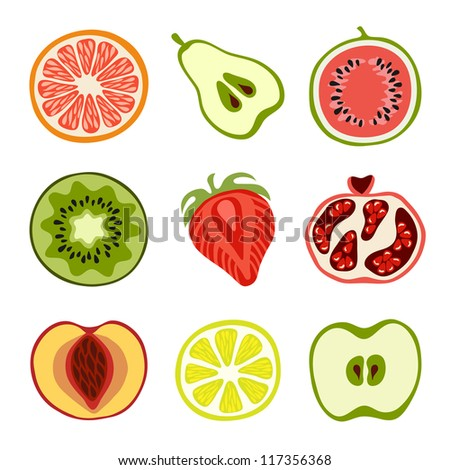 Isolated hand-drawn cut fruits - stock vector