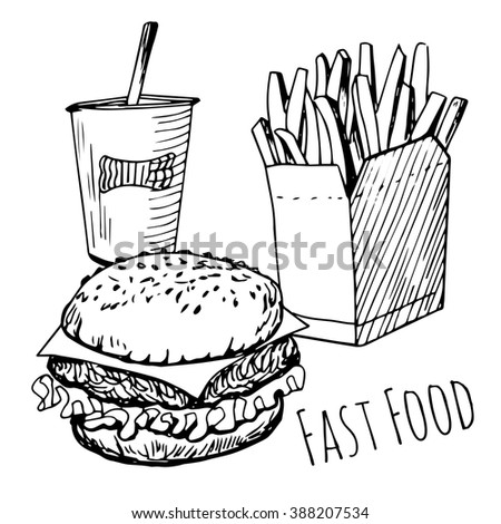Isolated hand drawn fast food