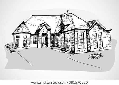 Isolated hand drawn house