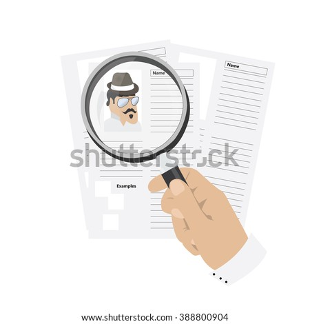 Isolated hand holding a magnifying glass searching for a job