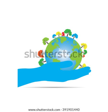 Isolated hand holding our planet with trees on a white background