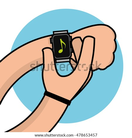 Isolated hand with a smart watch, Vector illustration