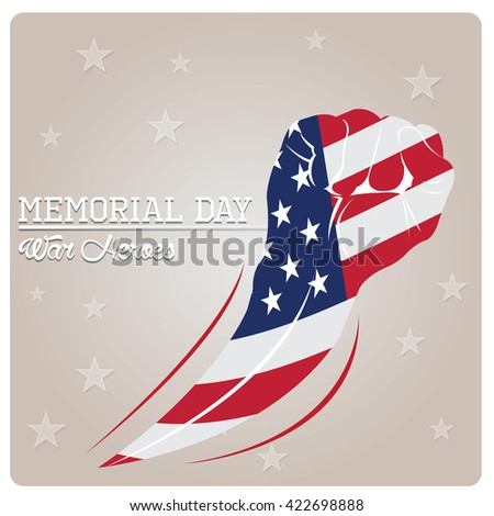 Isolated hand with the american flag on a textured background for memorial day - stock vector