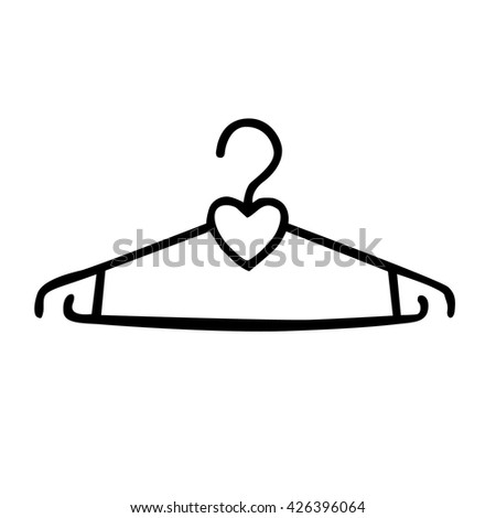 isolated hanger silhouette on white background - stock vector