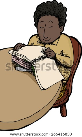 Isolated happy child sitting at table reading books - stock vector
