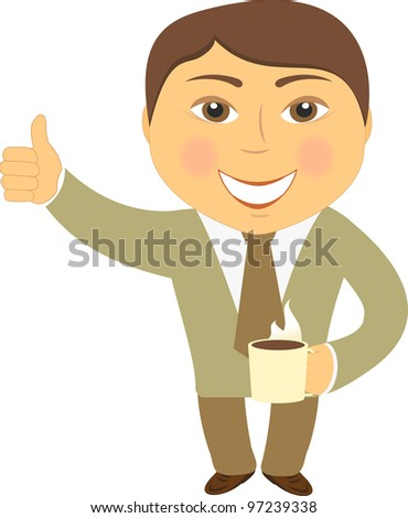 isolated happy man with coffee cup and showing thumb up - stock vector