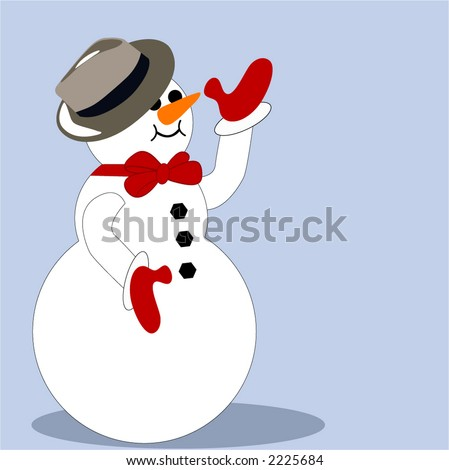 isolated happy snowman with fedora hat and mittens waving - stock vector