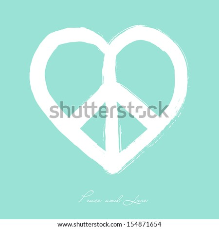 Isolated heart shape peace symbol brush style composition over blue background. EPS10 Vector file organized in layers for easy editing. - stock vector