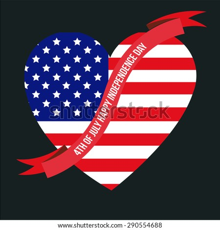 Isolated heart with a ribbon and the american flag. Vector illustration
