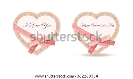 Isolated Heart with Pink Bow, Ribbon and texts Happy Valentine's Day and I Love You on white background (greeting card with shadow) - stock vector