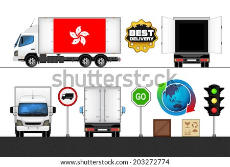 isolated Hong Kong flag labeled truck in transport collection vector illustration - stock vector