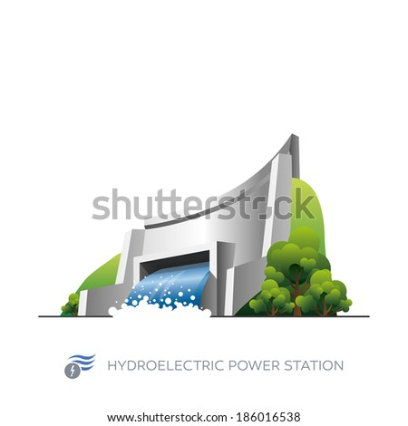 Isolated hydroelectric power station icon on white background in cartoon style  - stock vector