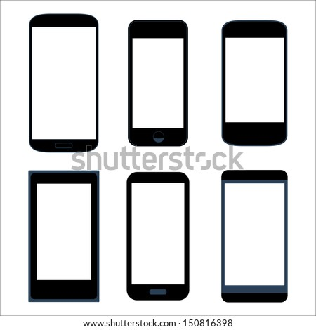 Isolated icon silhouette set smartphone mobile tablet pc vector eps10 - stock vector