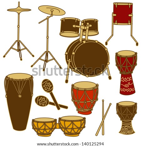 Isolated icons of drum kit and African percussion - stock vector
