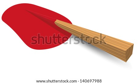 Isolated illustration eps 10 Wooden stake after the shot lying in a pool of blood