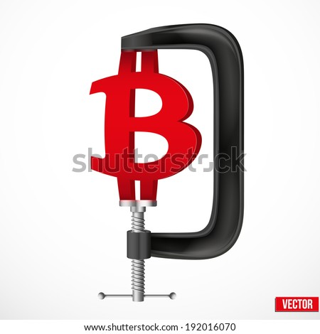 Isolated illustration of a currency symbol bitcoin being squeezed in a vice. Vector. - stock vector