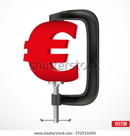Isolated illustration of a currency symbol euro being squeezed in a vice. Vector. - stock vector