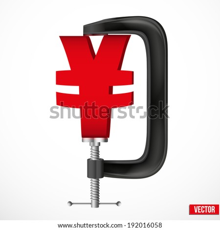Isolated illustration of a currency symbol yen being squeezed in a vice. Vector. - stock vector